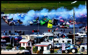 Tony Stewart causes wreck at Talladega